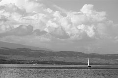 Yacht sailing on Lake Geneva royalty free stock photo