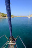 Yacht sailing in Levitha Bay Royalty Free Stock Images