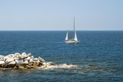 Yacht sailing in the Mediterranean sea Stock Photography