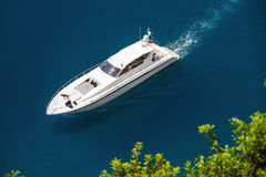 Yacht sailing in Mediterranean Sea Stock Photo