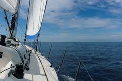 Yacht sailing in Mediterranean sea near Italy Royalty Free Stock Image