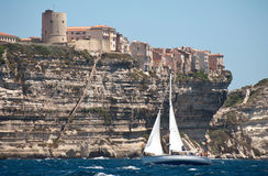 Yacht sailing near Bonifacio city Royalty Free Stock Images