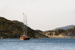 Yacht sailing near Kekova Stock Photography