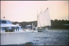 Yacht sailing in ocean stock video
