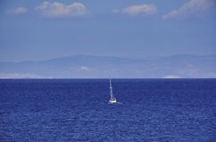 Yacht sailing over the Greek seas Stock Photo
