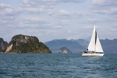 Yacht sailing in Phang Nga Bay Royalty Free Stock Image