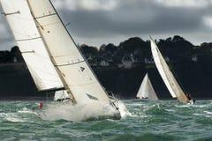 Yacht sailing at regatta Stock Image