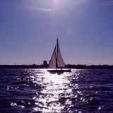 Yacht sailing at sea Stock Images