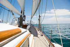 Yacht sailing in sea Royalty Free Stock Images