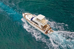 Yacht sailing on sea aerial view Stock Images
