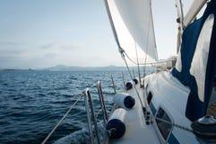 Yacht sailing on the sea near Sardinia, Italy Royalty Free Stock Photo