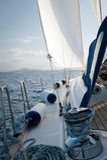 Yacht sailing on the sea near Sardinia, Italy Royalty Free Stock Images
