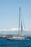 Yacht sailing on the sea near Sardinia, Italy Royalty Free Stock Photography