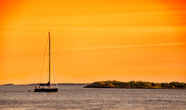 Yacht sailing in the sea Royalty Free Stock Image