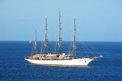 Yacht or sailing tail cruise ship in sea or ocean in Cozumel Stock Image