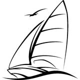 Yacht sailing on the wave vector illustration. Sailing, yacht racing sailing over the waves symbol vector illustration Royalty Free Stock Photos