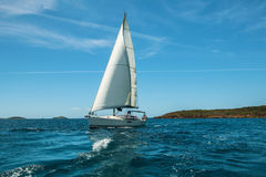 Yacht Sailing on the waves in the Aegean sea. Luxery. Luxery yacht Sailing on the waves in the Aegean sea Royalty Free Stock Photo