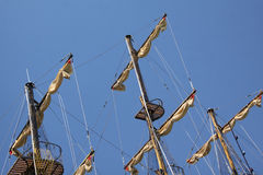 Yacht sails. On the blue colored sky royalty free stock images