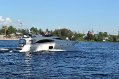 The yacht sails along the Neva River Stock Photography