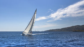 Yacht sails with beautiful cloudless sky. Royalty Free Stock Photo
