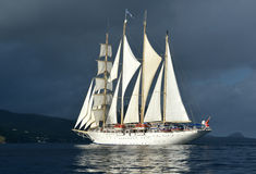 Yacht sails with beautiful cloudless sky. Sailing. Luxury yacht. Royalty Free Stock Image