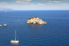 Yacht sails on the Ionian Sea Parga Stock Images