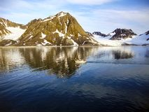 A yacht sails past coastal glaciers, through the still waters of Spitzbergen. The group of islands called Spitzbergen or Svalbard are part of the nation of Royalty Free Stock Photography