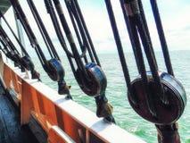 Yacht-Schiffs-Segel-Flaschenzug und Seil Lizenzfreies Stockbild