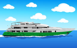 Yacht at sea. A luxury private yacht under way out at sea stock illustration