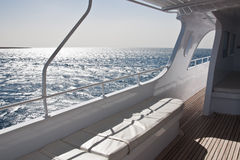 Yacht on the sea. View of the sea from a yacht main deck Royalty Free Stock Image