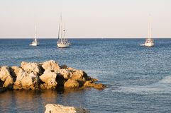 Yacht at the sea Stock Photography