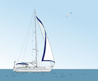Yacht in the sea. On a background of blue sky. Vector illustration Stock Illustration