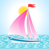 Yacht on sea. Illustration of yacht on sea Stock Image