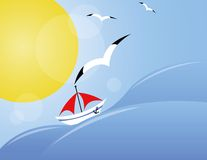 Yacht on sea. Background with yacht on sea, sun and seagull vector illustration