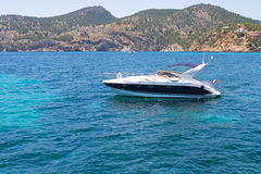 Yacht on the sea. Yacht on the blue sea royalty free stock photography