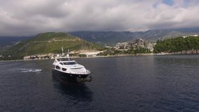 Yacht in the sea, aerial photography drone, Budva, near Dukley G. Ardens, Adriatic Sea, Montenegro, Balkans stock video footage