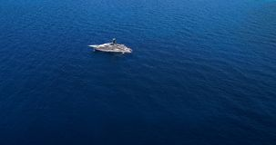 Yacht at sea in aerial view. In mediterranean Stock Images