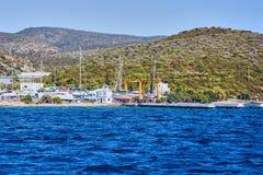 Yacht on the sea, beautiful bay in Turkey, Bodrum. Aegean coast royalty free stock photo