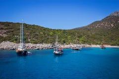 Yacht on the sea, beautiful bay in Turkey, Bodrum. Aegean coast. Yacht on the sea, beautiful bay in Turkey , Bodrum. Aegean coast stock photos