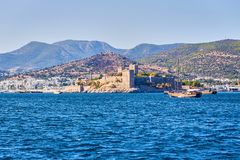 Yacht on the sea, beautiful bay in Turkey, Bodrum. Aegean coast. Yacht on the sea, beautiful bay in Turkey , Bodrum. Aegean coast royalty free stock photography