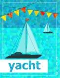 Yacht sea. Beautifull yacht sea. Vector illustartion Stock Photography