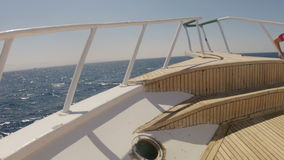 Yacht in the sea , the camera flies along the deck. HD stock footage