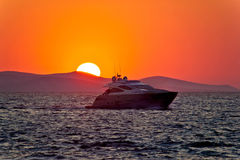 Yacht on sea with epic sunset. Mediterranean, Croatia Royalty Free Stock Photo
