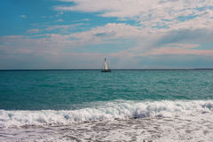 Yacht in sea. Yacht in Mediterranean sea Stock Images
