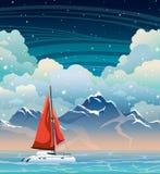 Yacht, sea, mountain and night sky. Summer landscape. Stock Photos