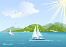 Yacht, sea and mountains Stock Photo