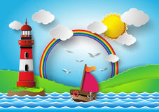 Yacht on sea with rainbow and lighthouse. Royalty Free Stock Images