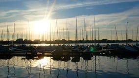 Yacht sea summer port sunset. Luxury yacht at sea race. Sailing regatta stock footage