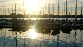 Yacht sea summer port sunset. Luxury yacht at sea race. Sailing regatta stock video footage