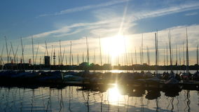 Yacht sea summer port sunset. Luxury yacht at sea race. Sailing regatta stock video